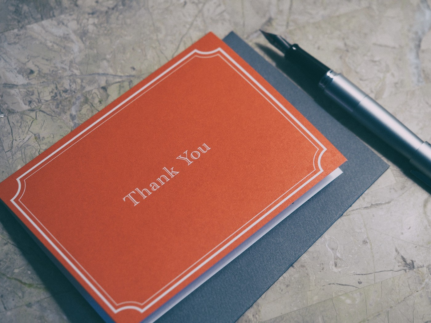 Thank you card with fountain pen