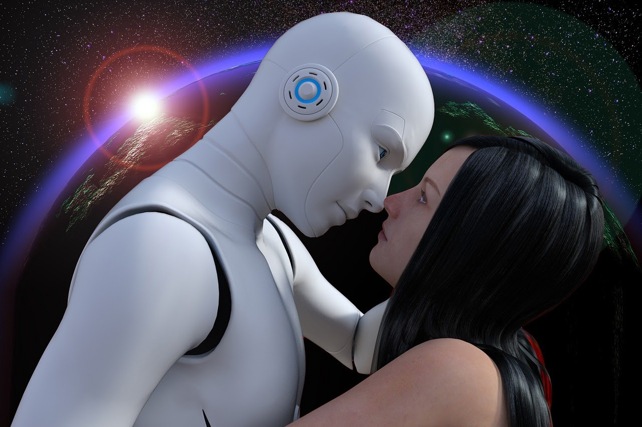 A girl with a male robot