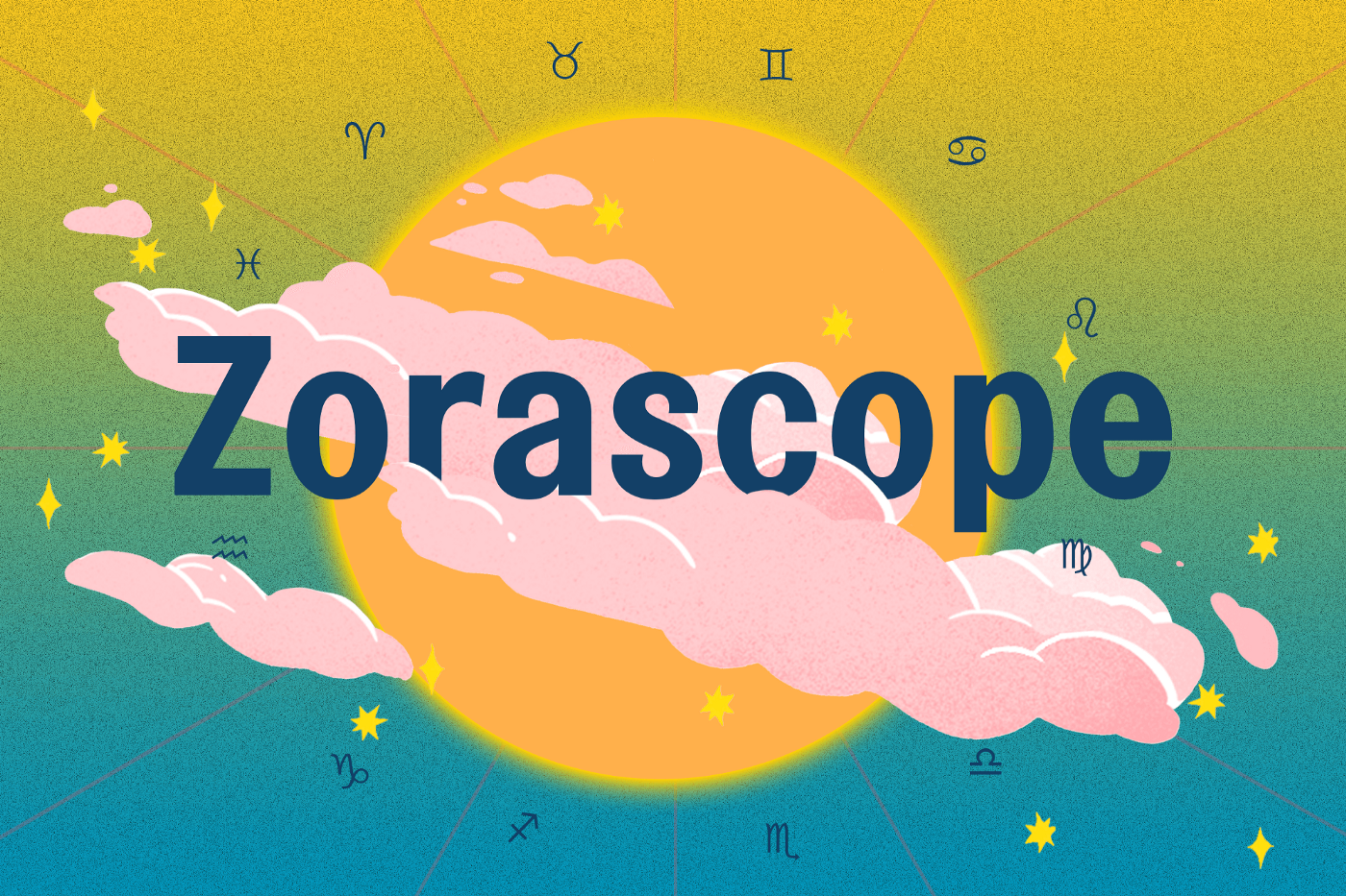 """A moon with the text """"Zorascope"""" and all the astrological signs around it."""