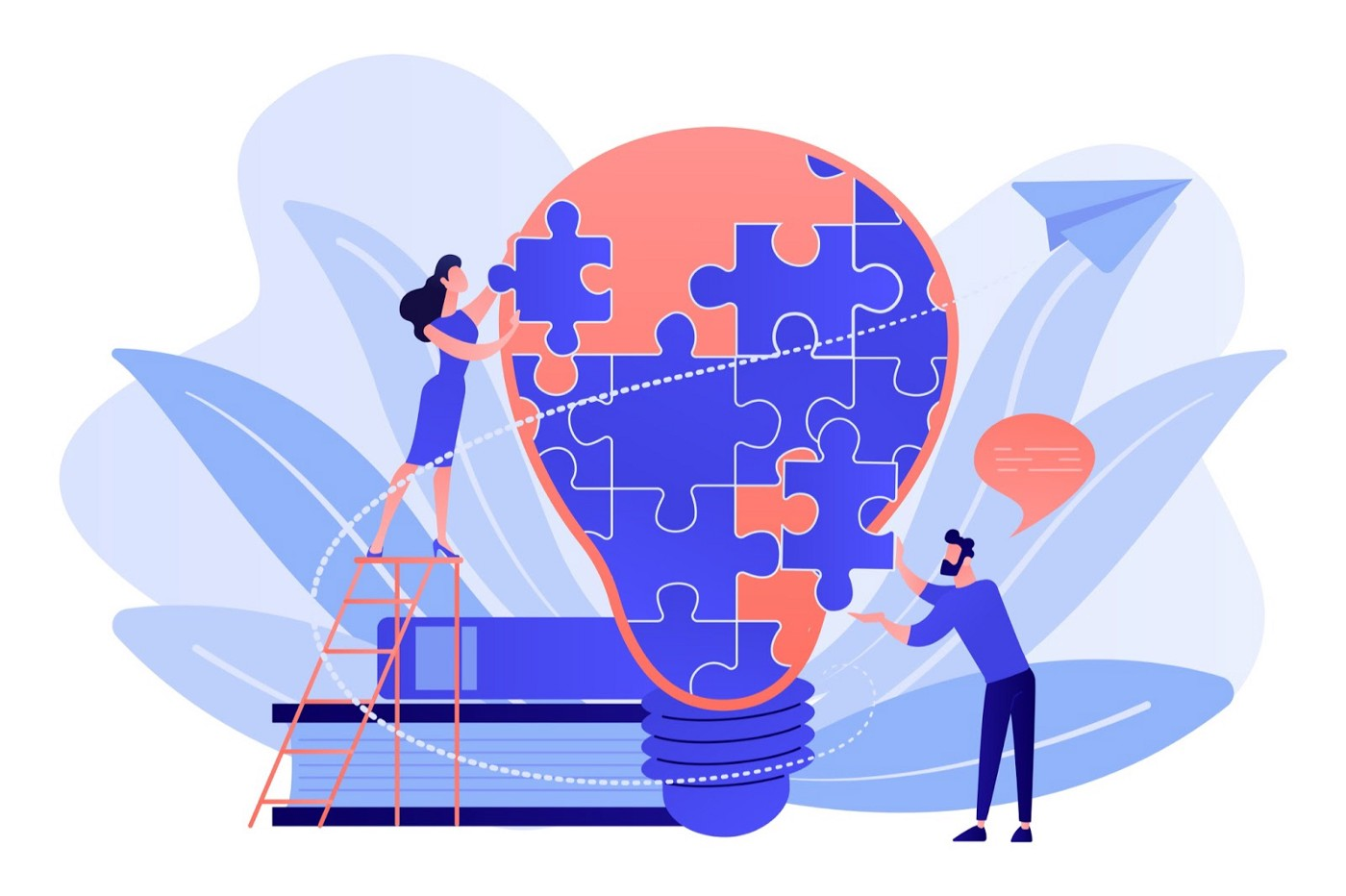 Illustration of man and women piecing together an idea.