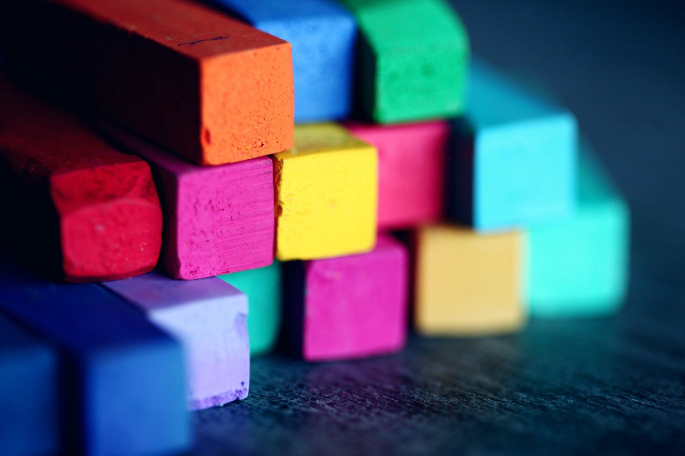 Stack of multicolored artists' chalk