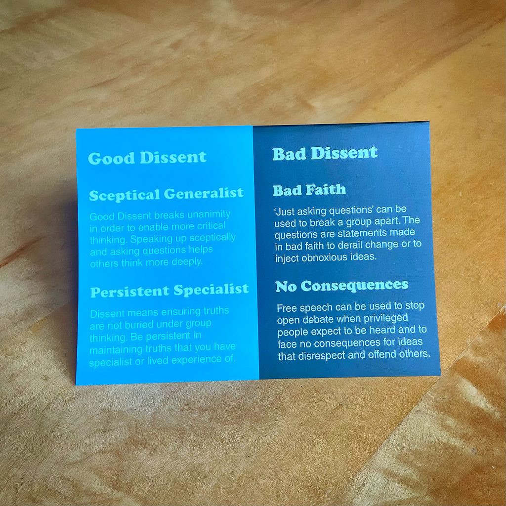 Dissent card both good and bad ideas