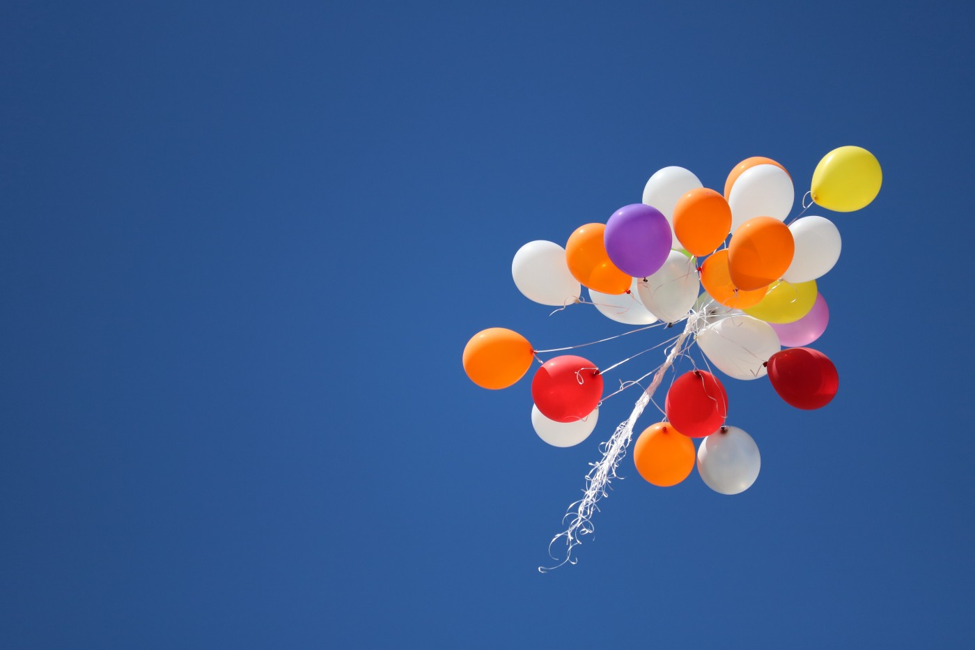 A bunch of colourful helium balloons is floating up through a clear blue sky.