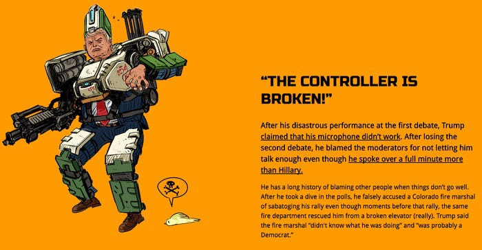 Trump depicted as a kind of mech-warrior, for another ad.