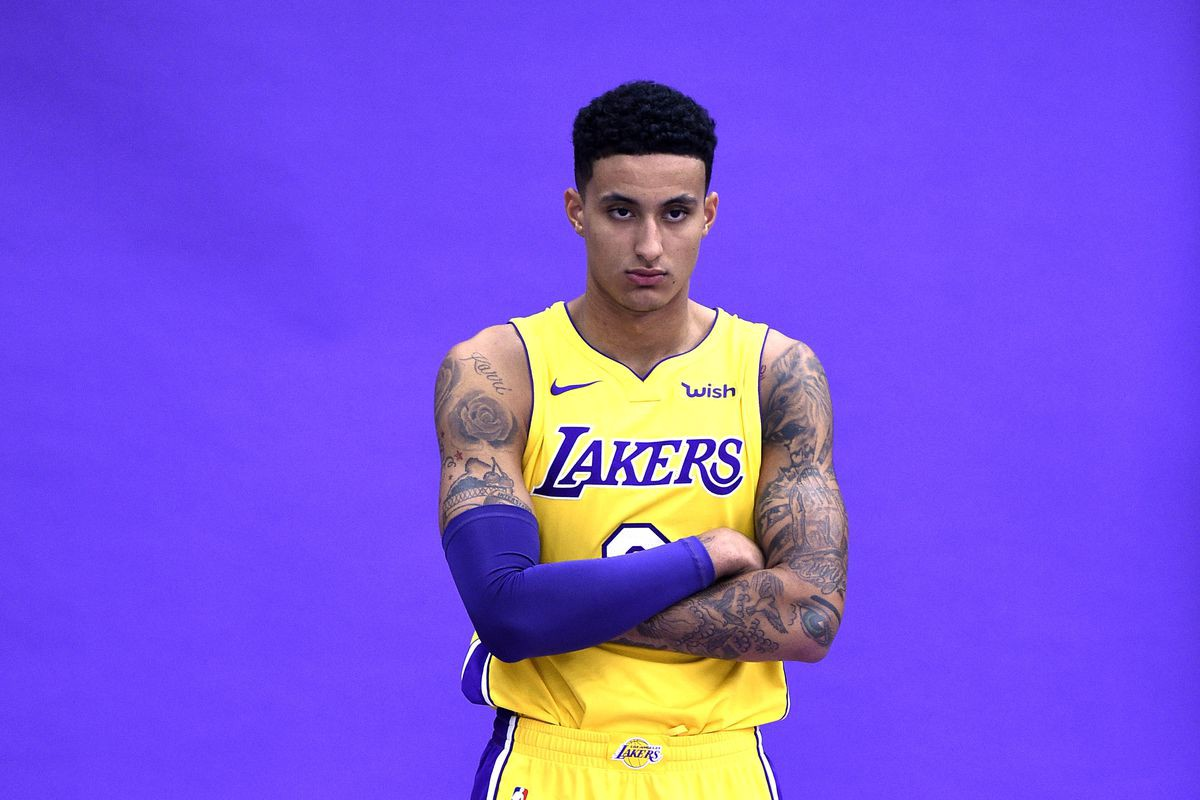 d05927c8 A funny thing happened on the way to the Lakers' regular season opener.  Unheralded rookie Kyle Kuzma seized control of highly touted sophomore  Brandon ...