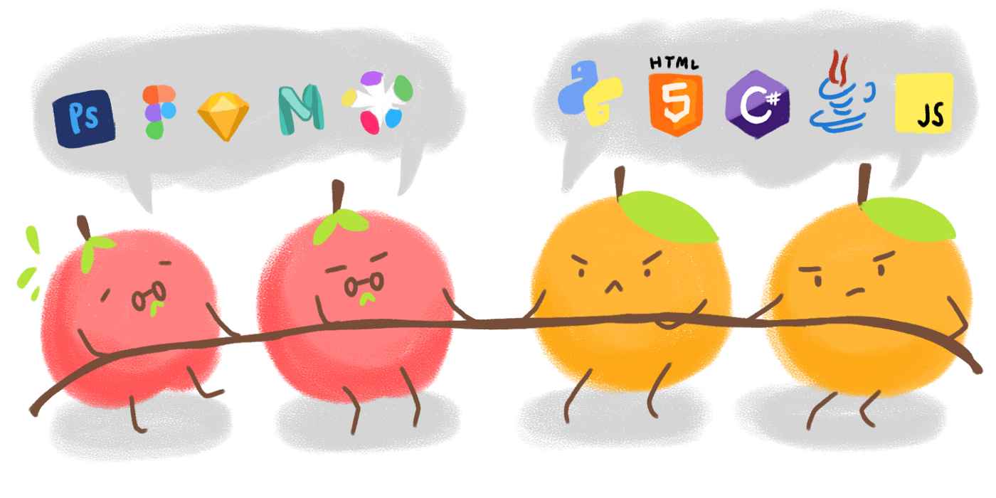 graphic of apple and oranges tug of war