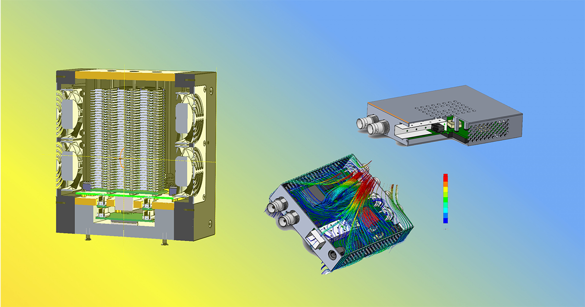 Three devices with examples of thermomodeling of air flows inside their enclosures
