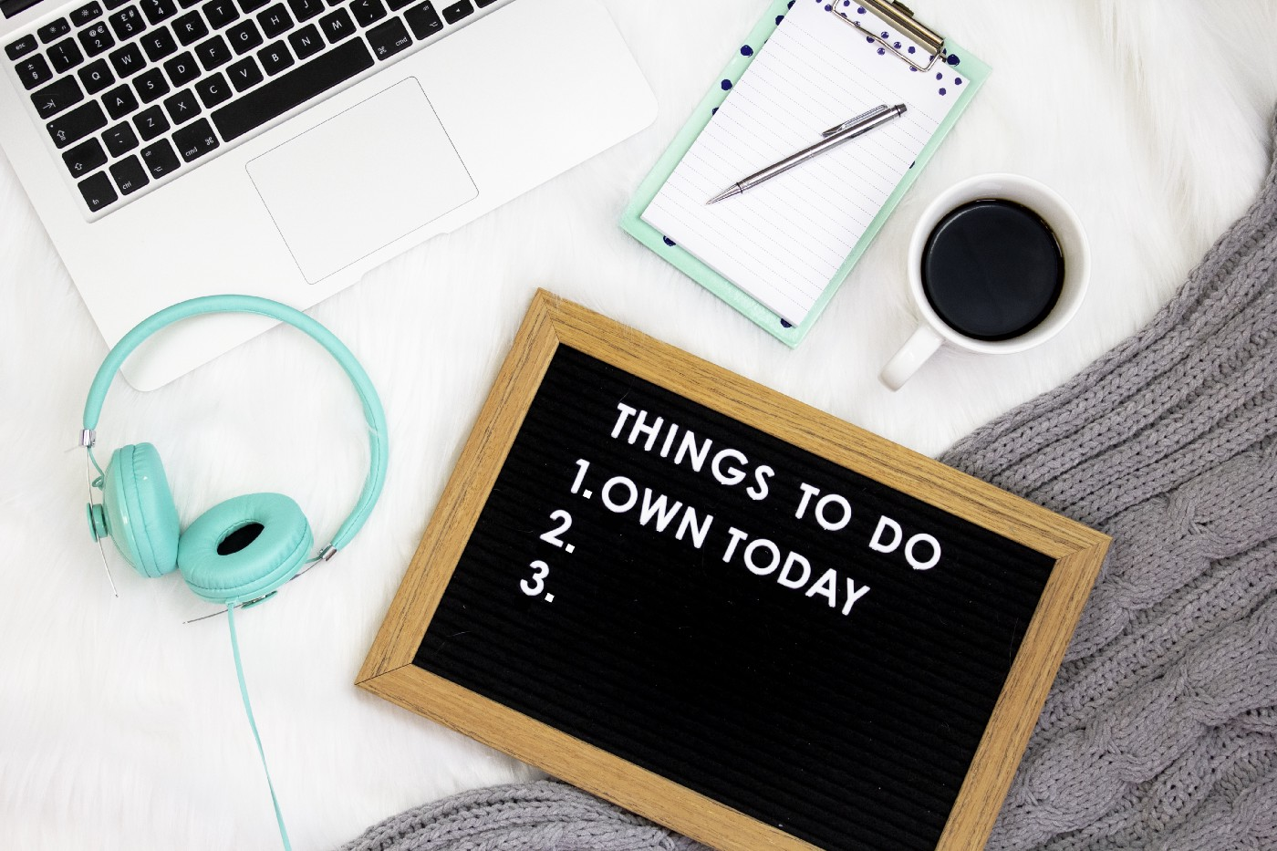 """A list of 3 things to do—the first of which is """"own today""""."""