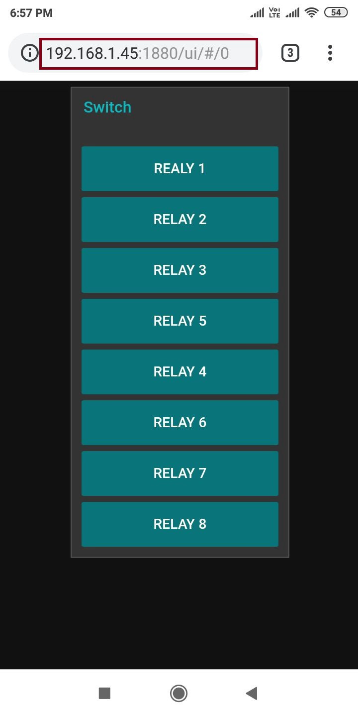 Control I2C Realy using Node-Red Dashboard in Smartphone