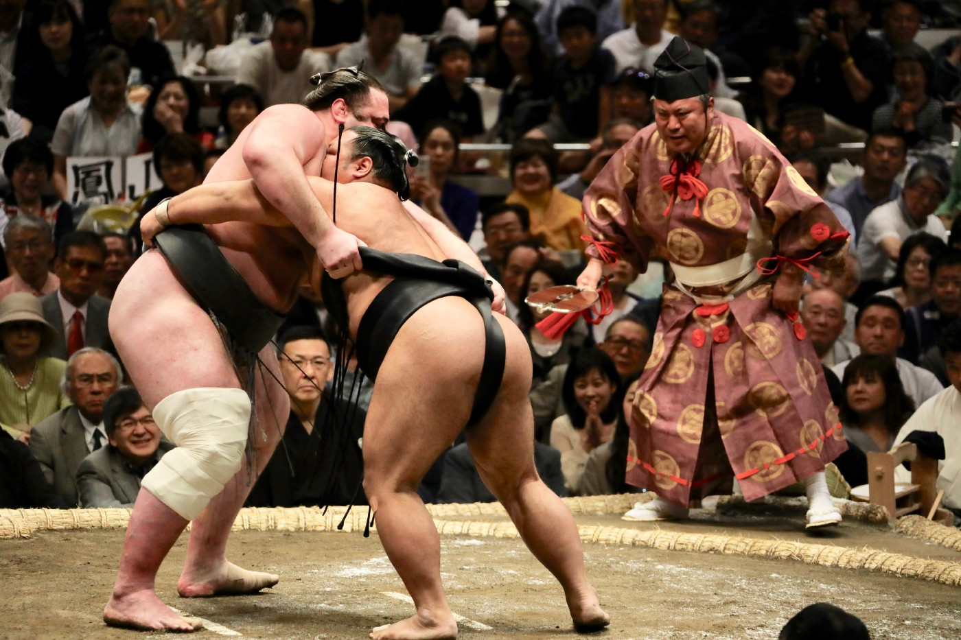 Image of two sumo wrestlers grappling