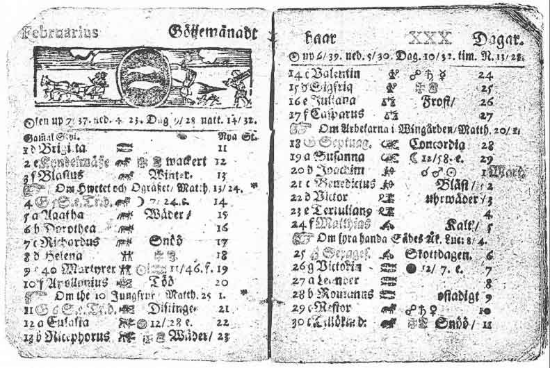 The 30 days of February 1712 in Sweden (Wikimedia Commons)