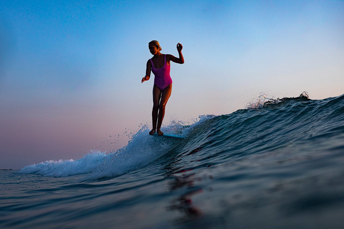 In the last moments of Mexican light, Sarah captures 16-year-old Haley Otto in full perch. (Photo: Sarah Lee, She Surf)