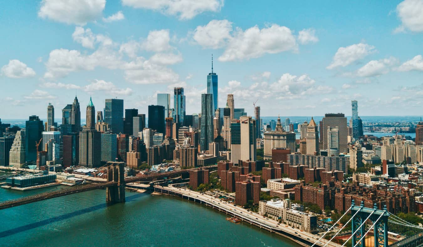 The iconic New York skyline during a bright summer day