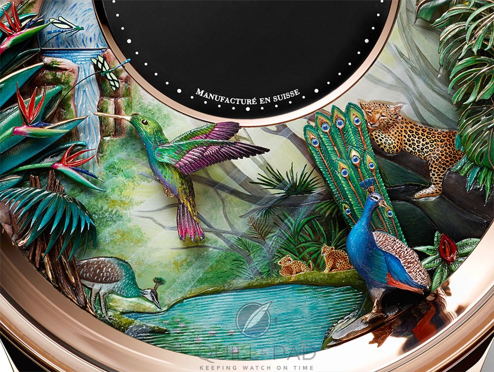 Impeccable details on the dial of the Jaquet Droz Tropical Bird Repeater