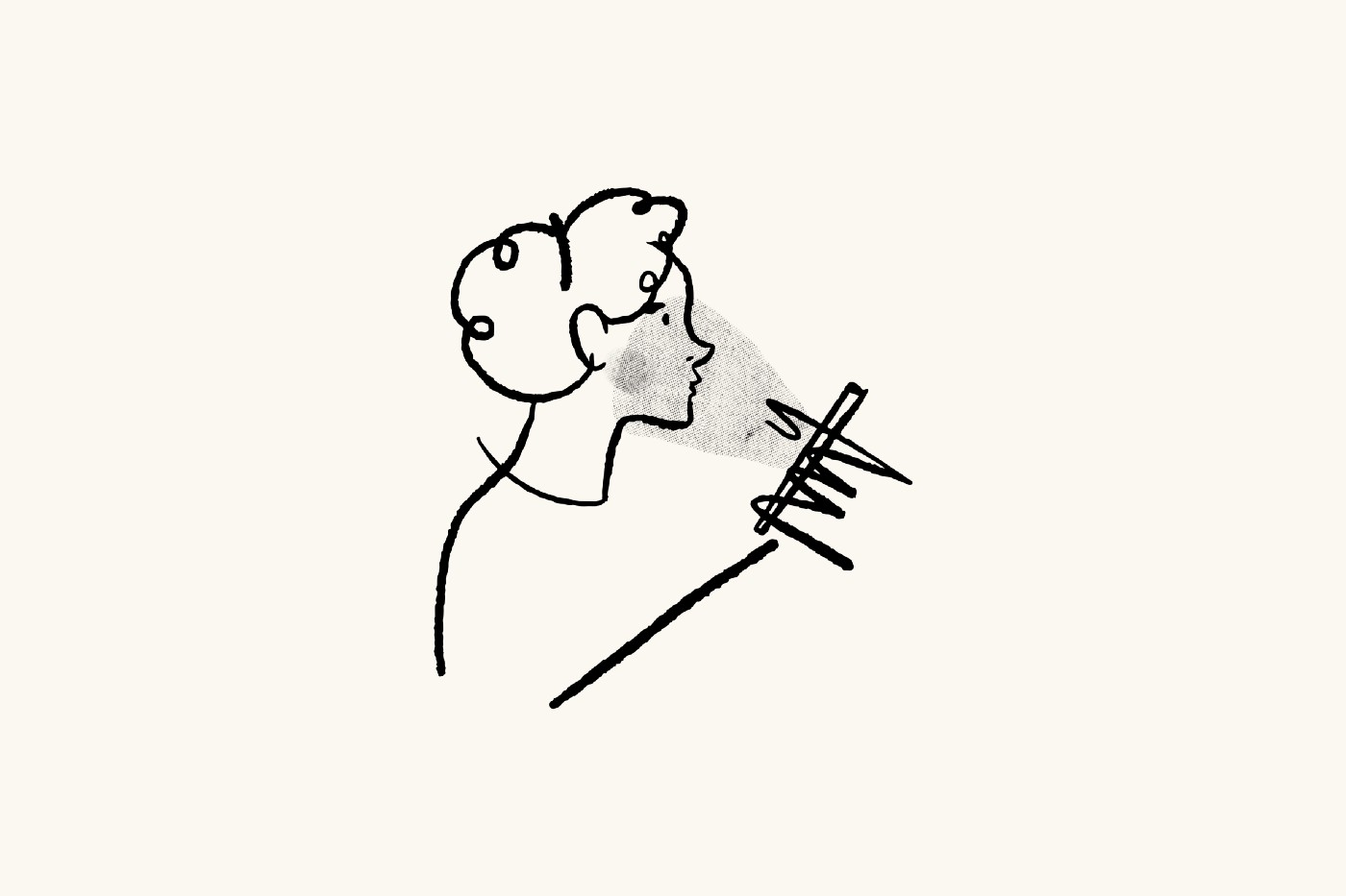 A cartoon of a person in side profile holding a phone. The light from the phone shines on their face.