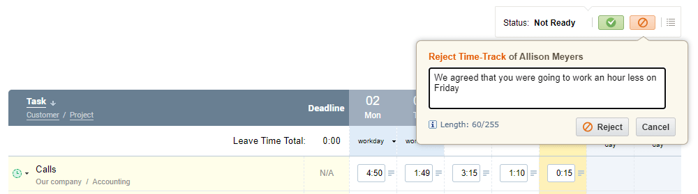 Timesheet approval in actiTIME