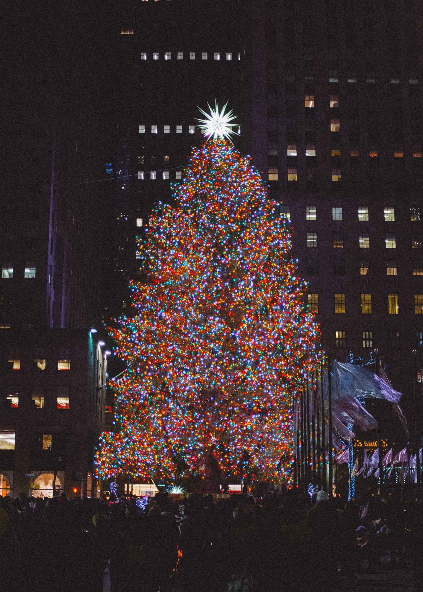 The Rockefeller Center Christmas tree in New York City.