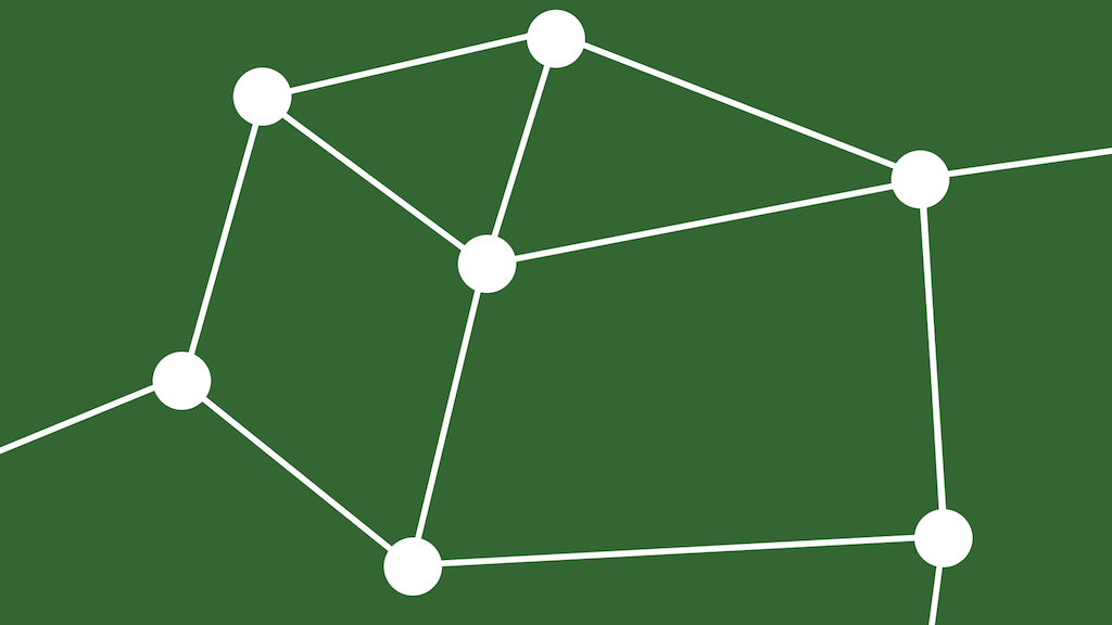 The same scattering of circles, with one of them removed. The other circles are still connected.