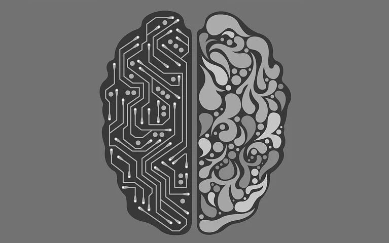 A black and white picture of a brain divided into 2 parts. Left part shows circuit connections and right part shows creative art patterns.