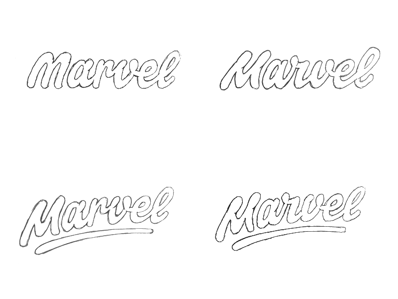 """Sketching Actually took a lot of inspiration from the previous Marvel type, especially the """"r-v"""" and """"v-e"""" connection were interesting to explore further."""