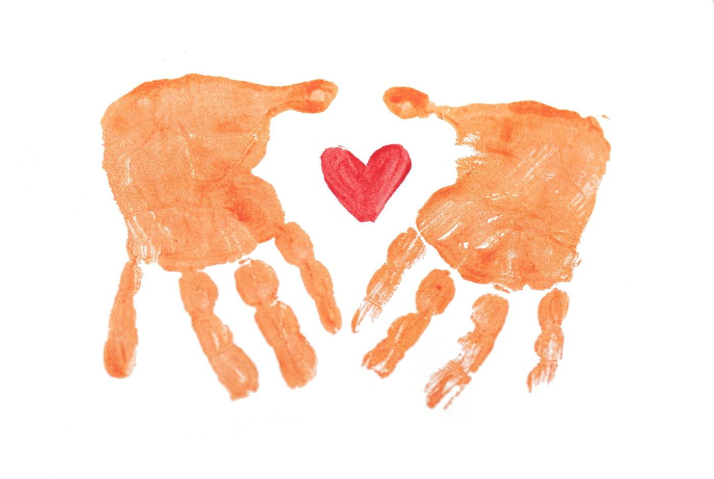 Finger painted hands with heart symbol.