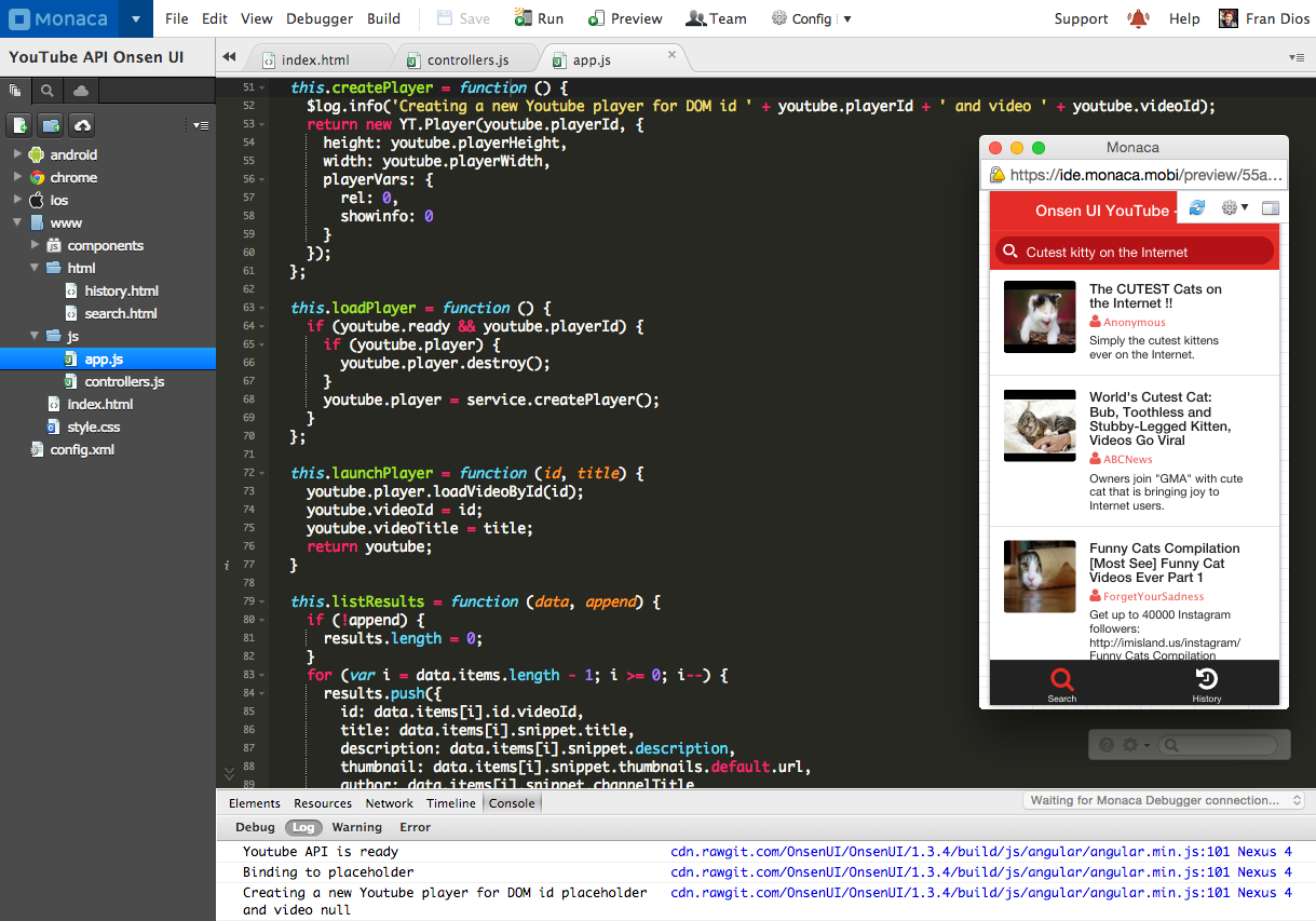 Make a YouTube app with AngularJS and Onsen UI - The Web Tub - Medium