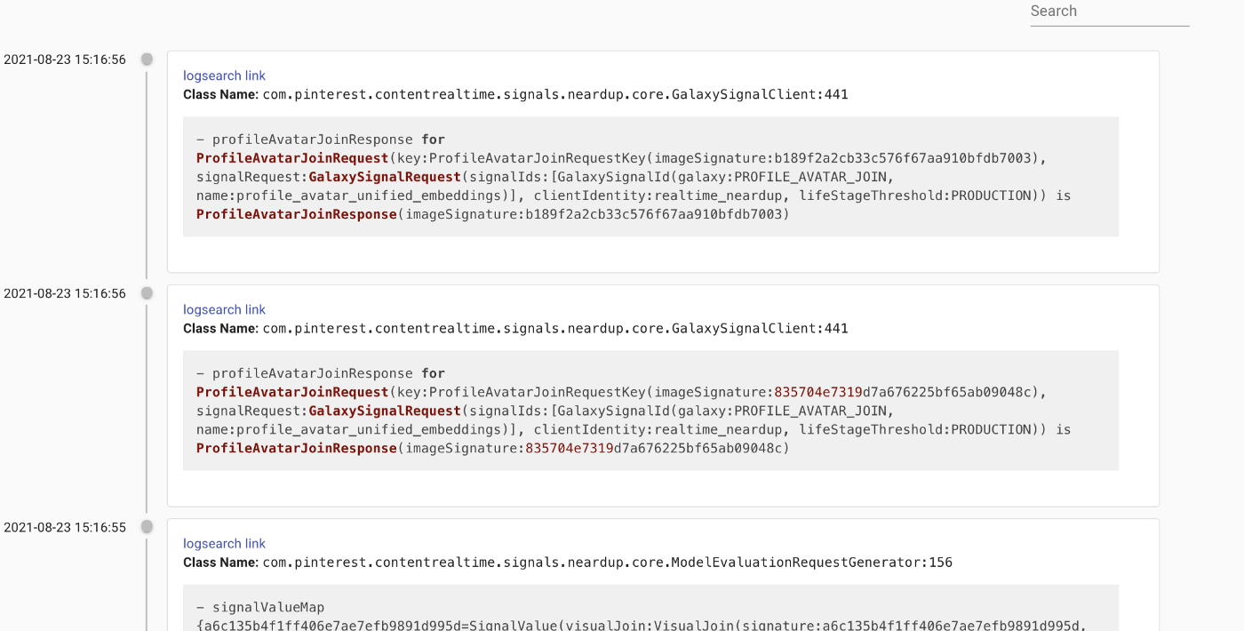 Timeline view of logs with class name and pre-populated ElasticSearch link