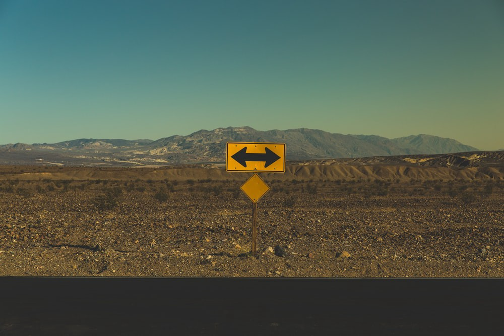 Directional sign in death valley
