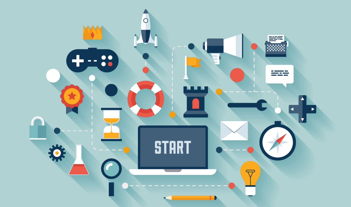 Image showing various items typically linked to gamification: gaming console controllers, game pads, locks, puzzles…