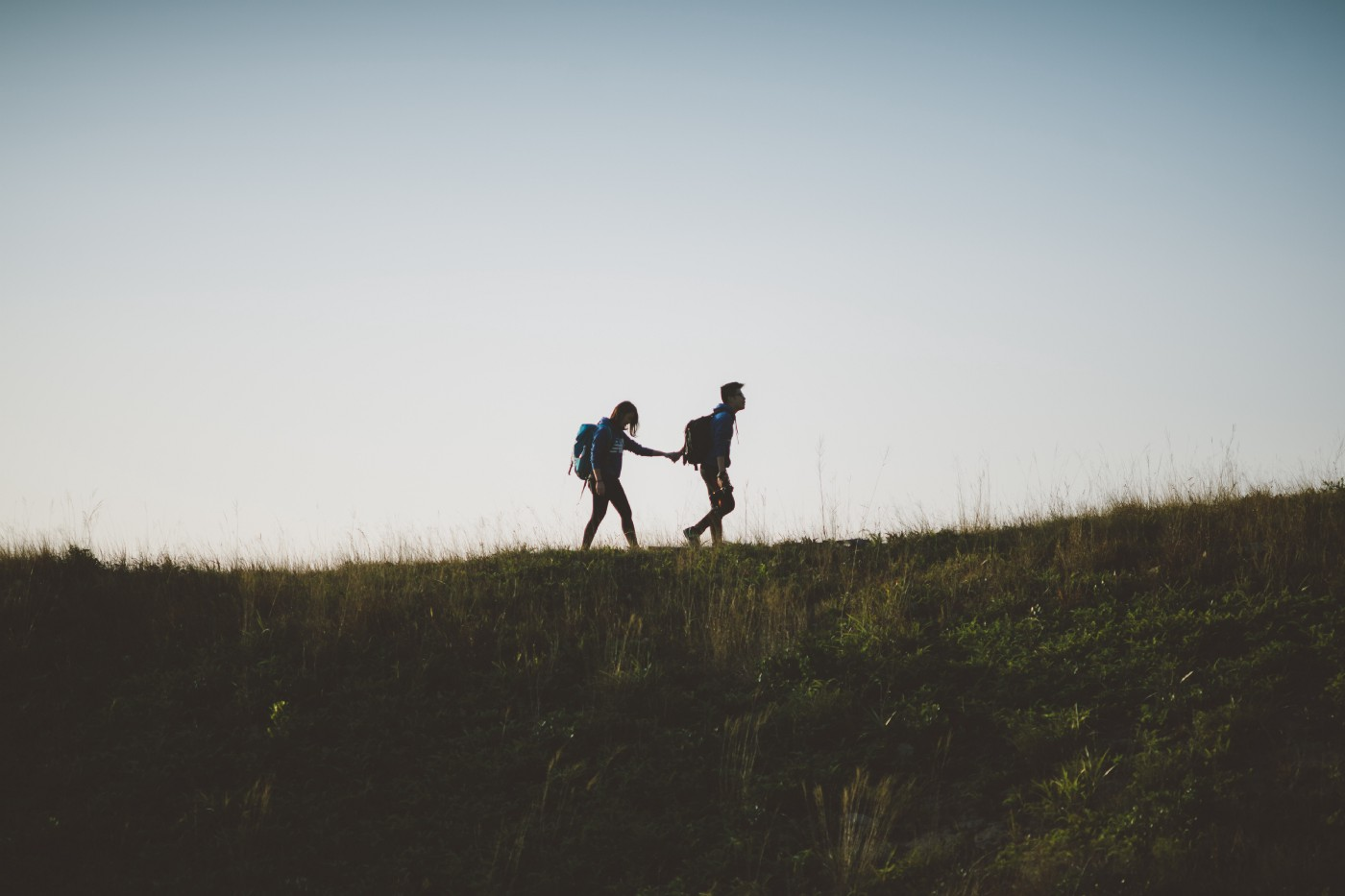Two hikers holding hands up on a hill