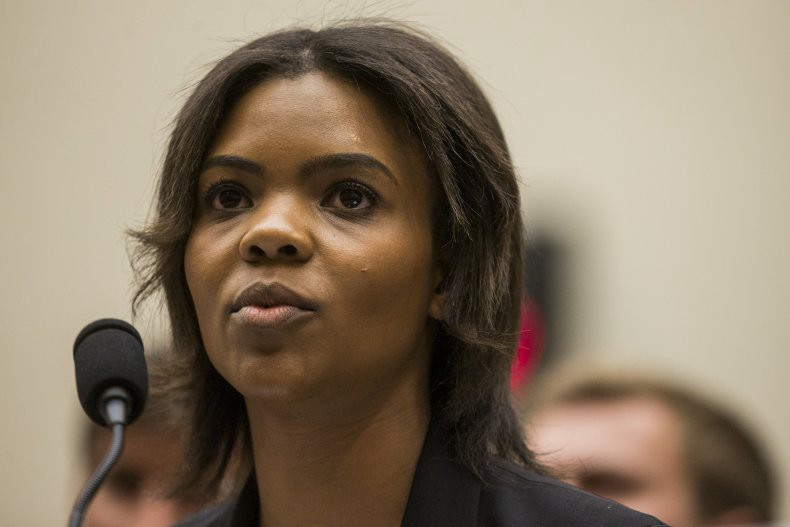 Candace Owens speaking into a microphone.