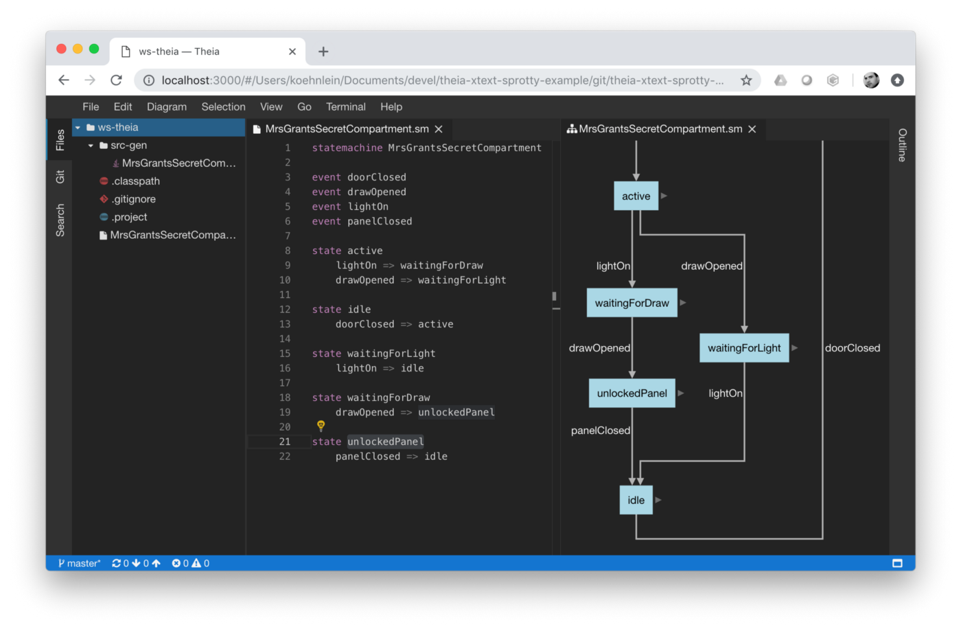 the theia cloud-ide running a dsl editor with code-generator and a  visualization