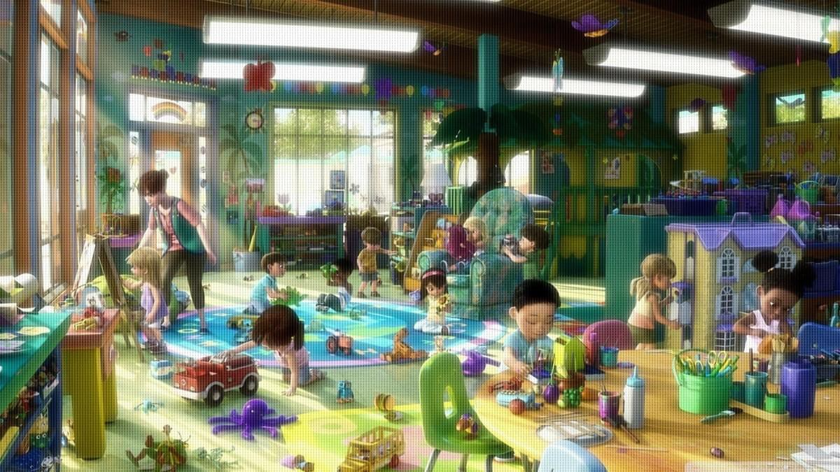 Animation frame of daycare center with kids playing peacefully