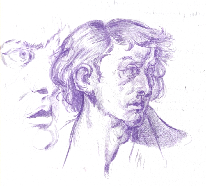 A sketch of a man in purple colored pencil stares off into the distance