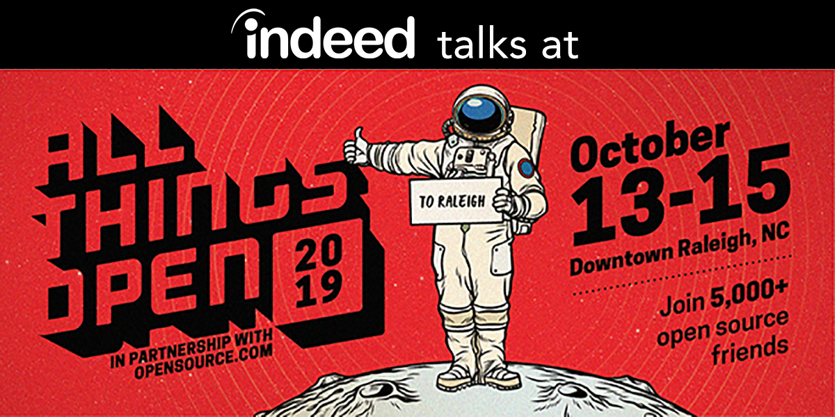 Flyer for All Things Open shows a cartoon astronaut hitchhiking to Raleigh, North Carolina to get to the conference