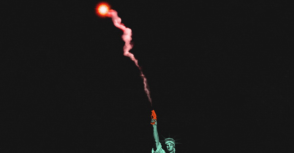 The Statue of Liberty shooting a red flare gun into the air, creating a trail of pink smoke.