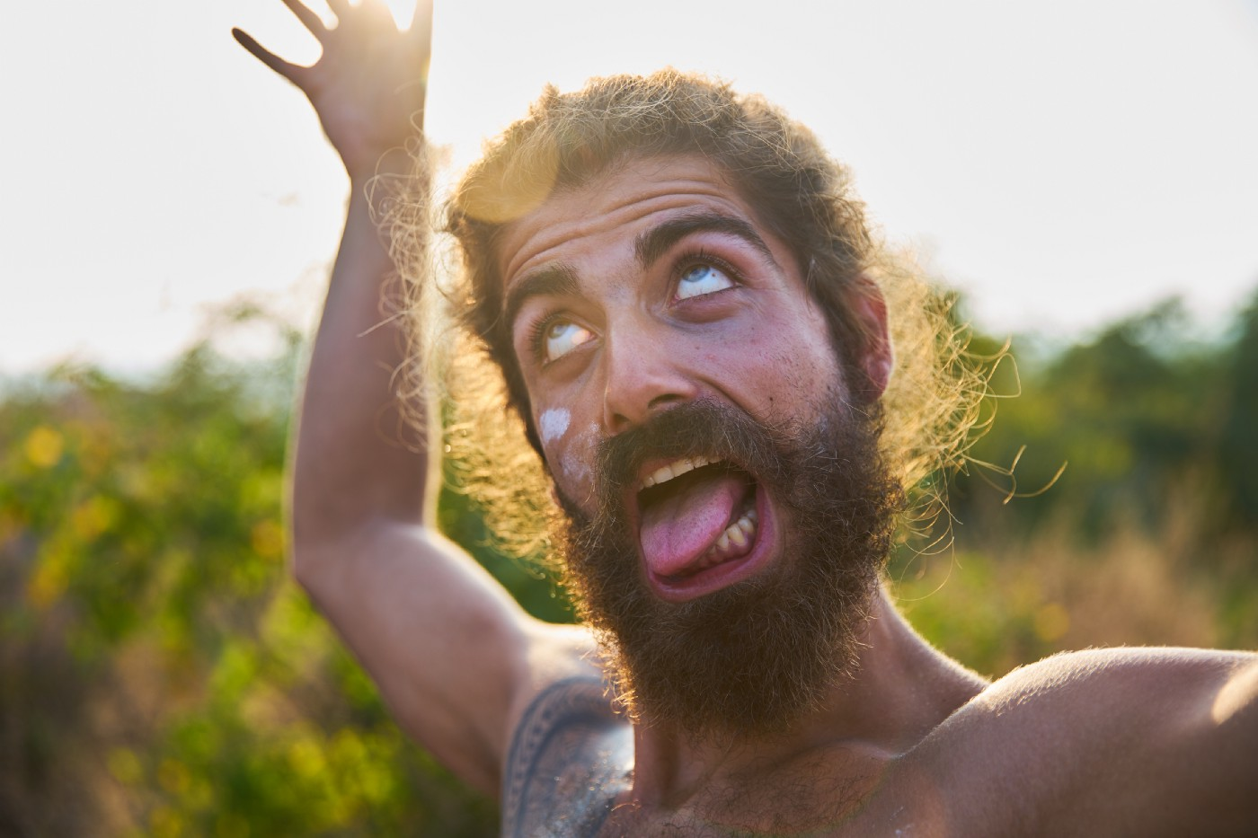 Bearded man making a funny face