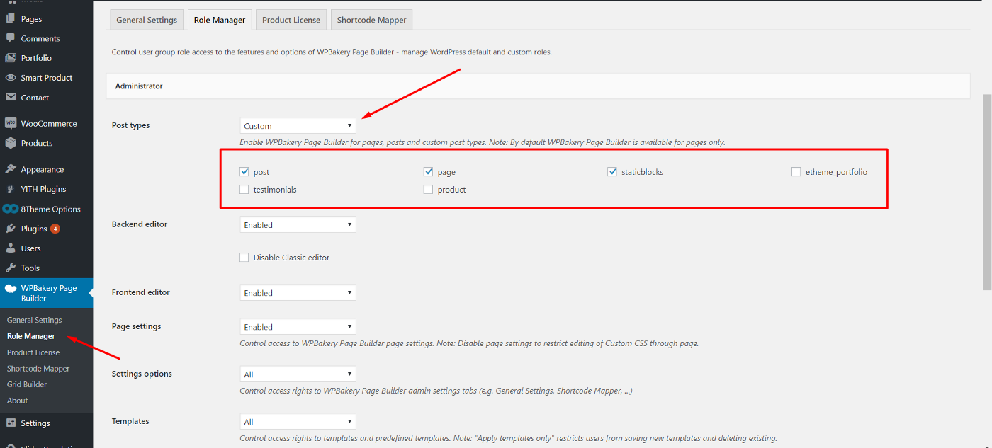 How to enable / disable WPBakery Page Builder for custom post types
