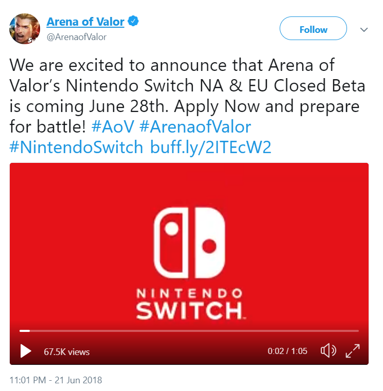 Nintendo Switch Update: Arena of Valor to Enter Switch CBT