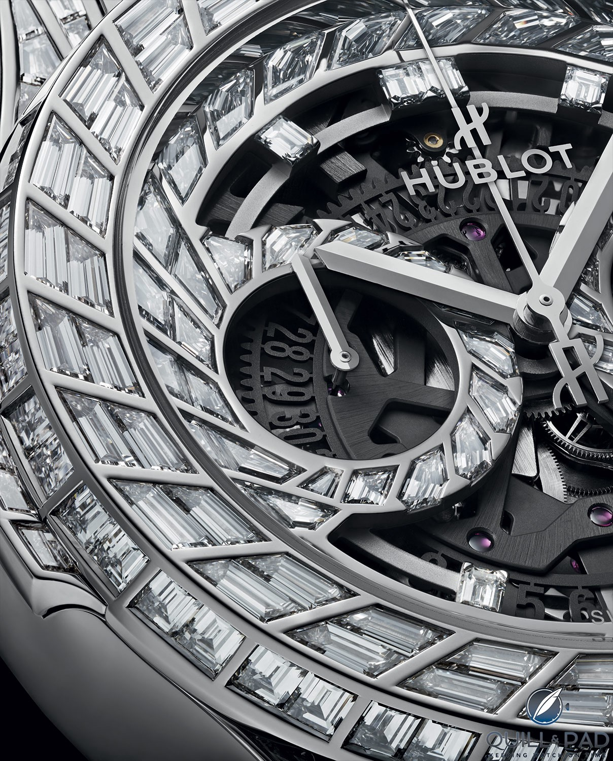 Close up look dial side of the Hublot Classic Fusion Aerofusion Chronograph High Jewellery