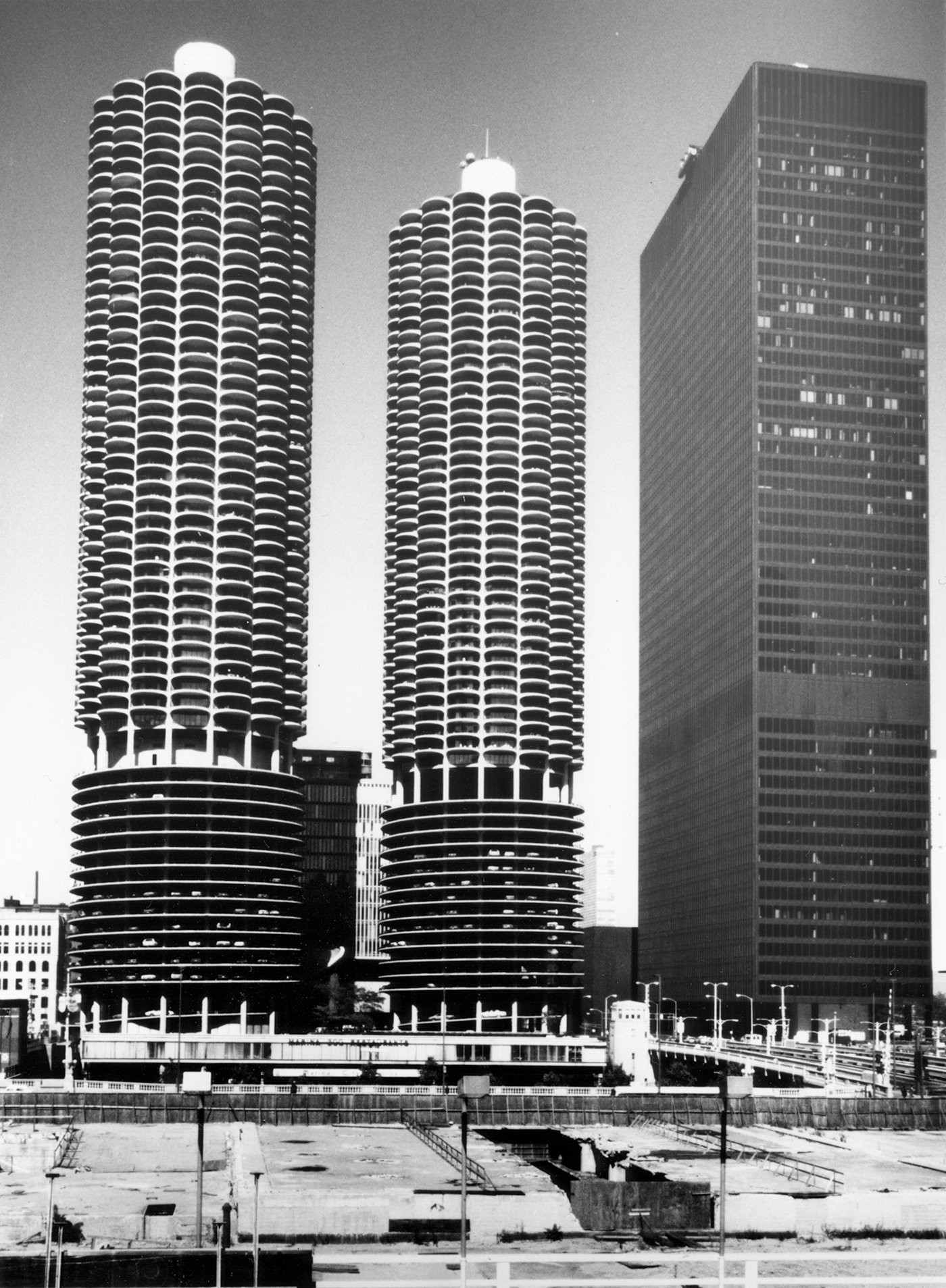Completed in 1967, Marina City is often regarded as a 'city within a city.' Before downtown Chicago became a trendy neighborhood, Goldberg was one of the earliest pioneers who wanted to bring a new lease of life into the then-crumbling area. Now a landmark and highly sought-after residential tower, this skyscraper is often regarded as one of the city's most iconic designs. (Photo: Ryerson and Burnham Archives, The Tale of Tomorrow)