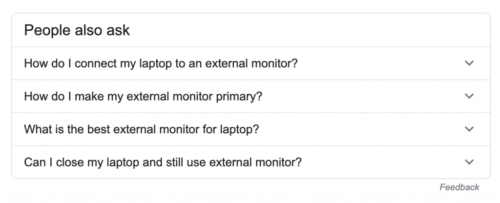 people also ask for external monitor keyword