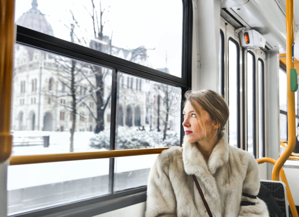 Woman in a fur coat, looking out a window at a snowy scene.