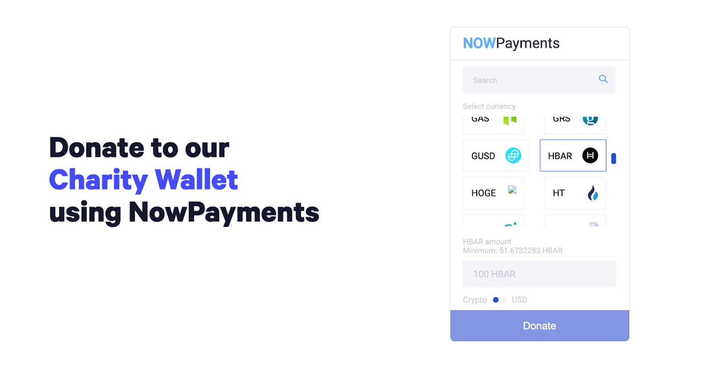 Donate with crypto