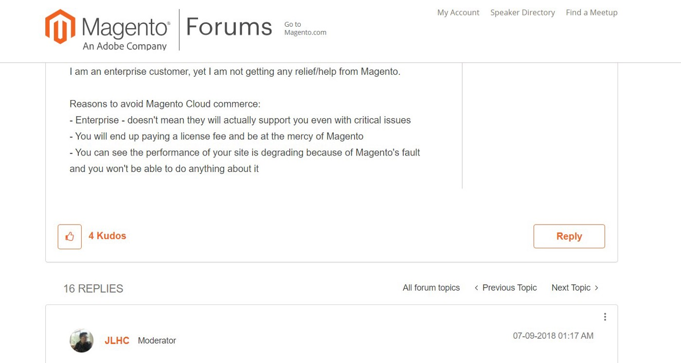 Reviews about support for Magento Commerce Cloud on Magento Community