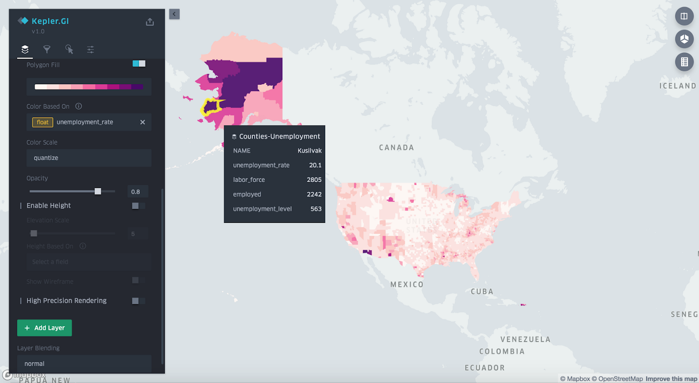 Visualizing Unemployment for U S  Counties with kepler gl