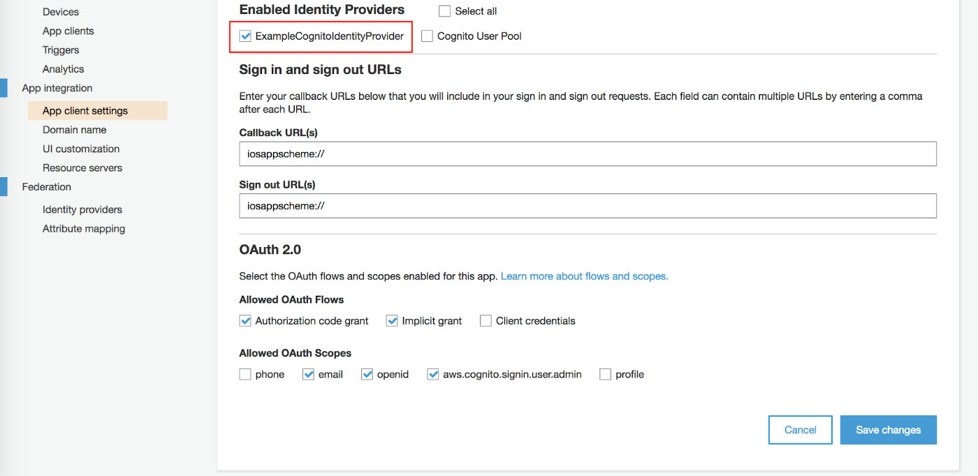 Setup AWS Cognito User Pool with an Azure AD identity provider to