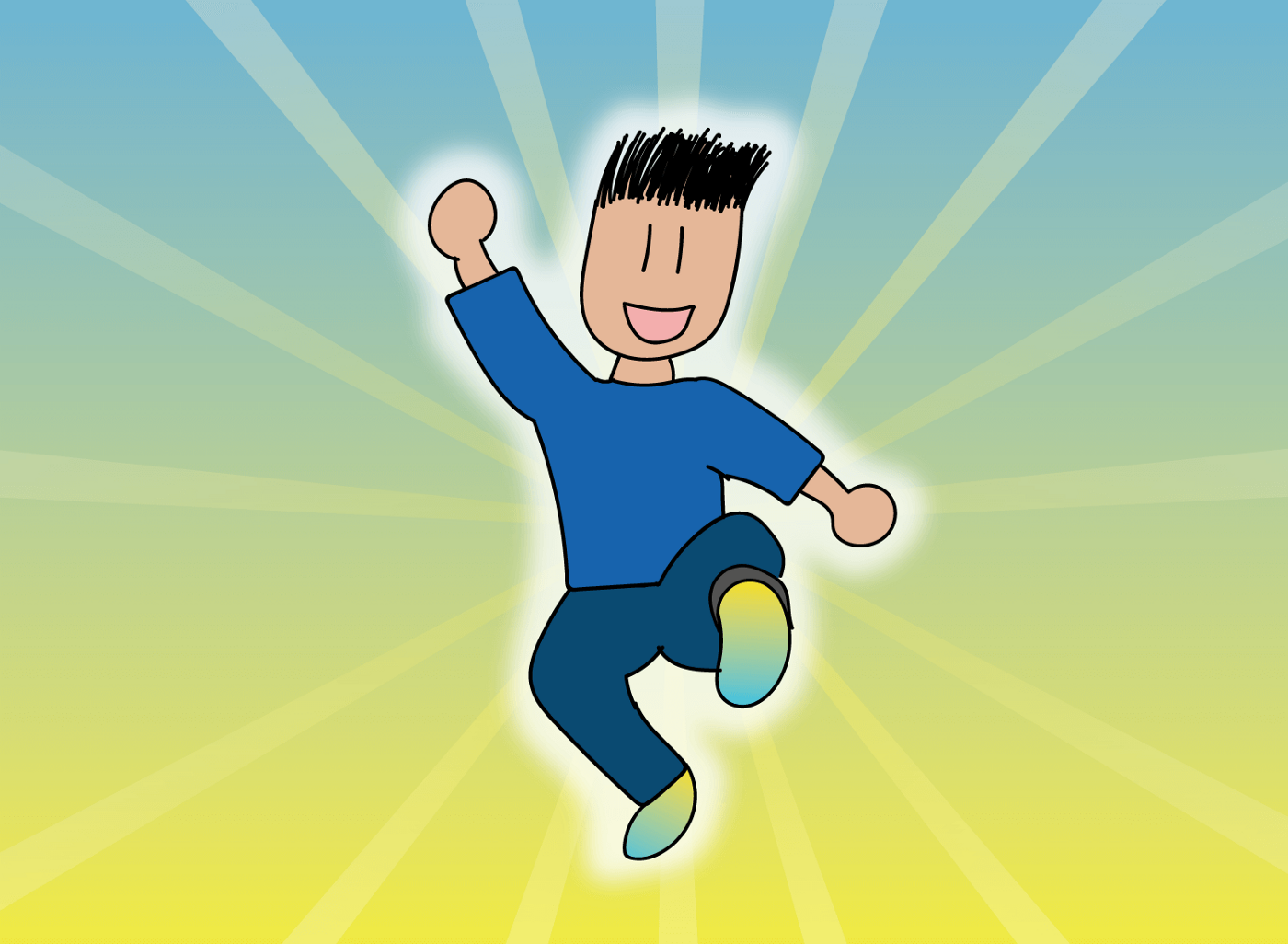 A smiling person jumps toward the viewer, fist raised triumphantly.