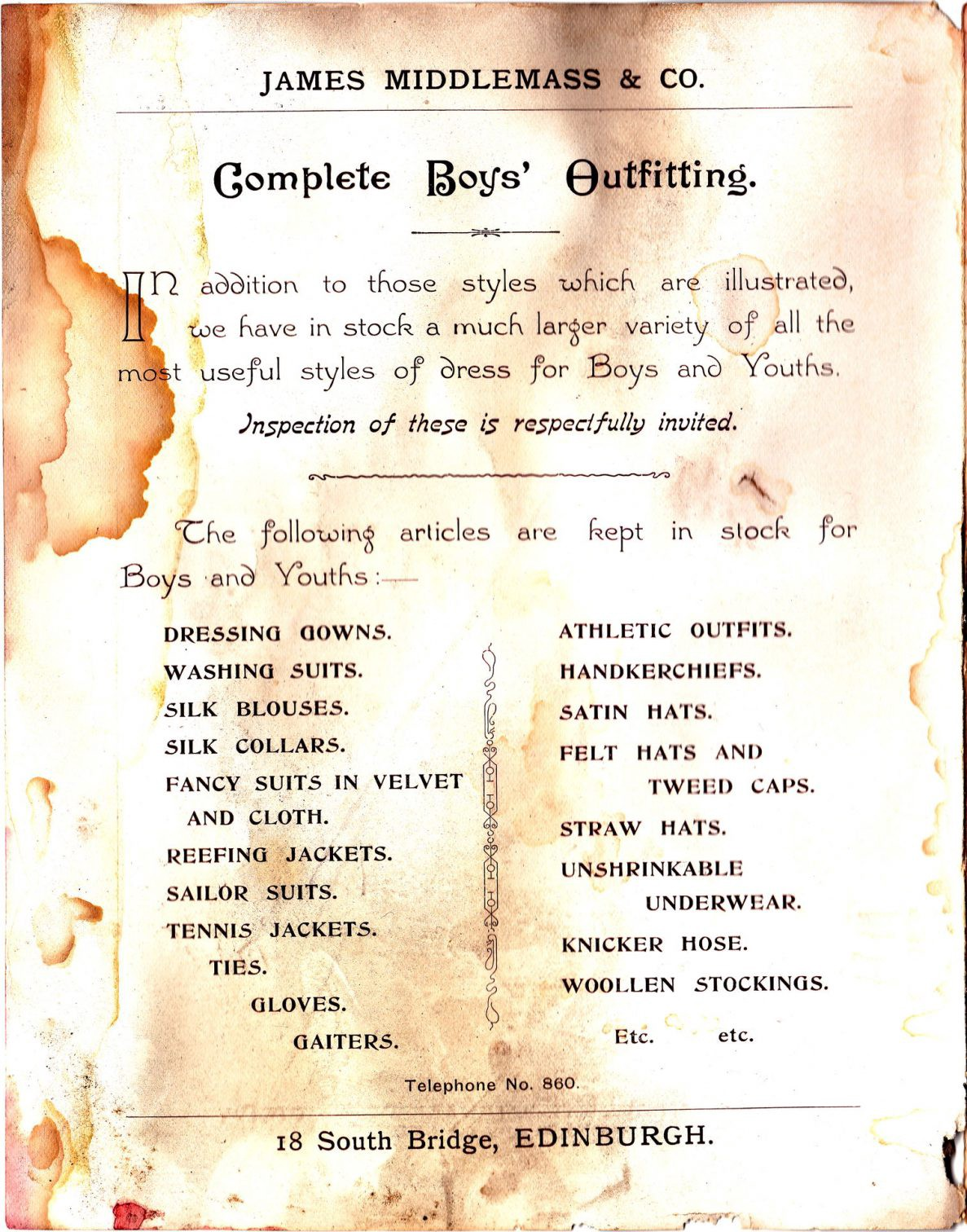 """""""Complete Boys' Outfitting"""" - a list of types of clothing available"""