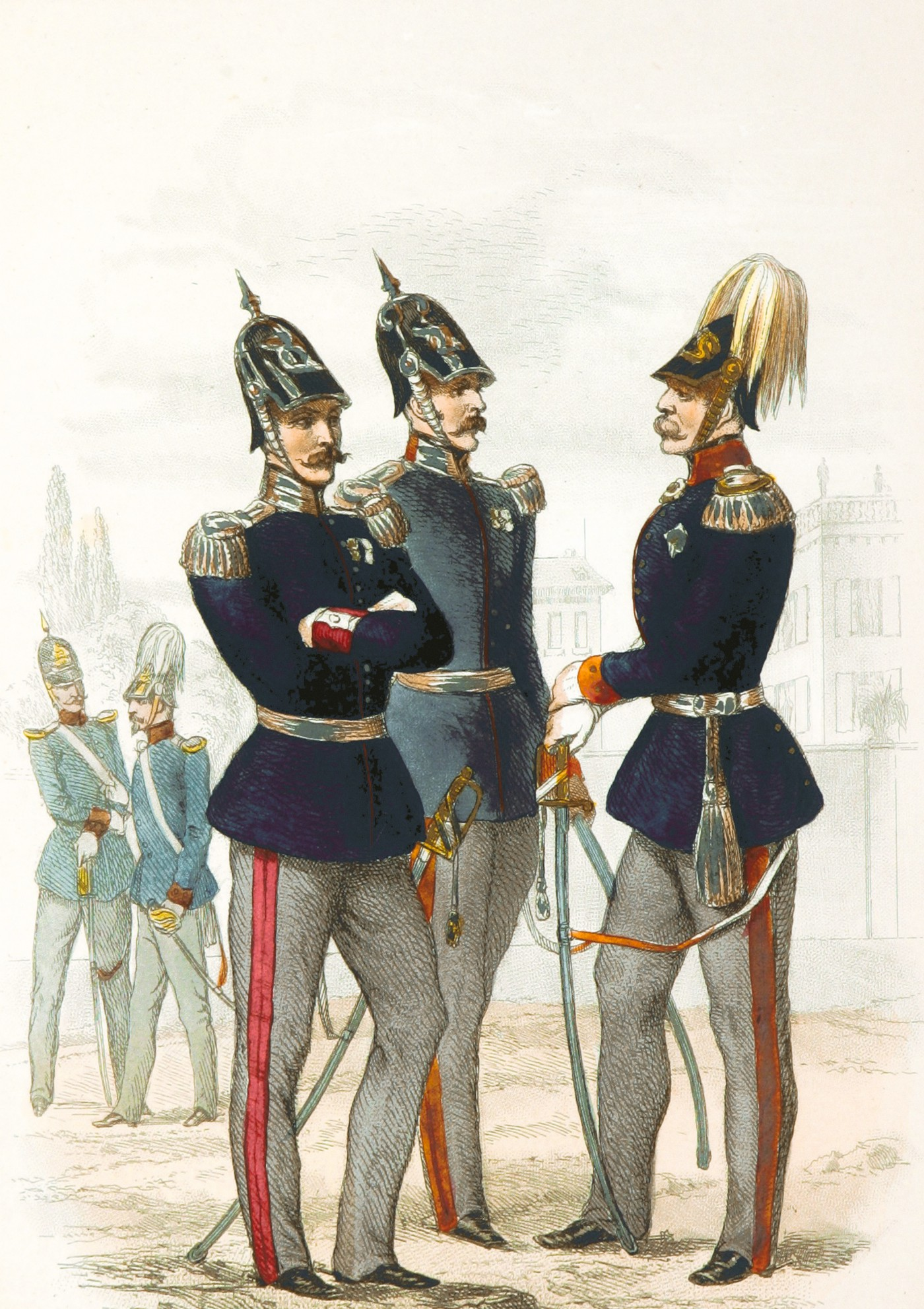 An old-fashioned engraving of ornately uniformed and mustached Baden soldiers with pointy helmets. Some also have plumes!